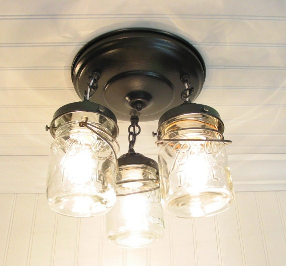 Mason Jar Ceiling Lighting Fixture Vintage Pint Trio By