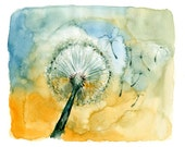 Dandelion-nature art-Landscape painting-Watercolor-flower art-Archival Large Print from my original watercolor painting 11x14 inch