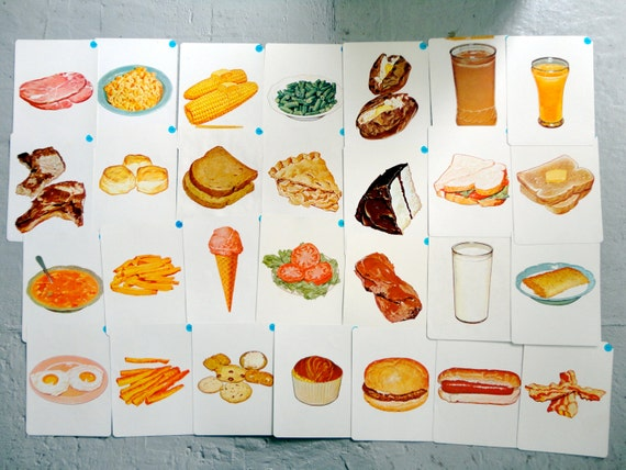 Items similar to vintage 1960s educational flash card set - Cuisine flash but ...