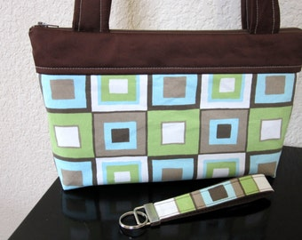 SALE - Zipper Bag, Purse, Handbag, Nook, Kindle Case Cover including Matching Key Fob, Funky Squares