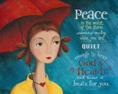 Peace in the Storm - 8x10 or 11x14 Art Print Scripture Christian Inspirational Girl in the Rain