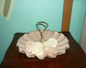 Vintage Pale Pink/ Peach Ruffled Serving Tray