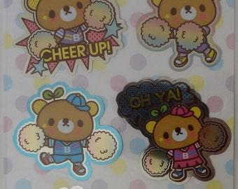 Kawaii Bean Bear Sticker Sheet - B