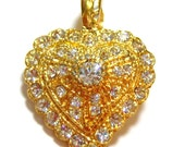 gold tone heart with lots of clear rhinestones vintage pendant, gold tone pendant, rhinestone pendants, heart pendant, gold tone heart CS513