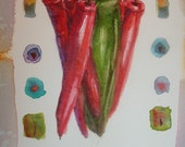 Original watercolor painting by Robin Phillips chili peppers