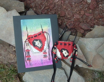 Wearable Art Leather Medicine Bag and Watercolor Frameable Art Set