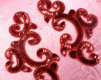 """0242 Red Appliques Mirror Pair Sequin Beaded 6"""" (0242-rd)"""