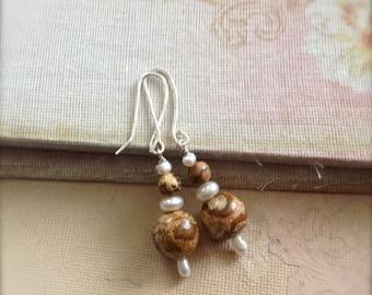 Brown Earrings Picture Jasper Gemstone Earrings Freshwater Pearls Sterling Silver Earrings Spring Sale