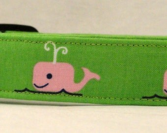 Awesome Pink Whales on Green Dog Collar