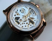 Copper Steampunk Mechanical Wrist Watch, Luxury Brown Leather Wristband, Golden Copper Tone, Unisex, Men, Groomsmen - Watch - Item MWA57-cp
