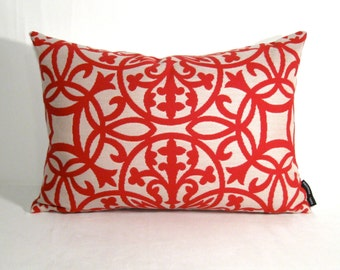 Items similar to Decorative Pillow Cover - Modern Red Outdoor Pillows - Trellis - Crimson Red ...