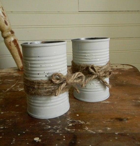 Shabby Chic Rustic Wedding Decor Flower Vases Painted Metal