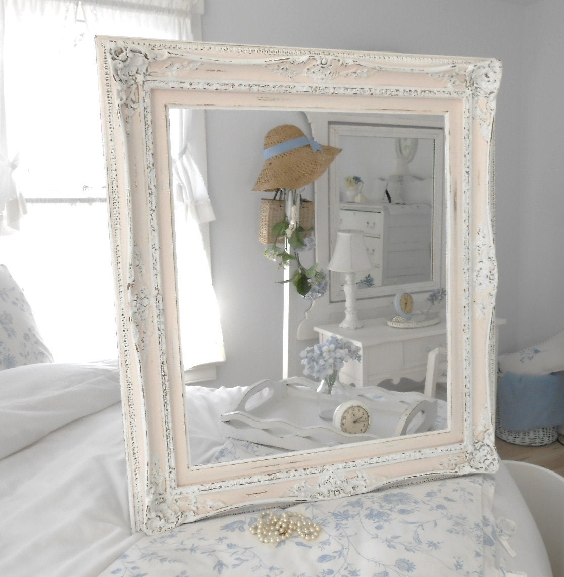 Frame shabby chic furniture home decor for mirror or art for Home decorating mirrors