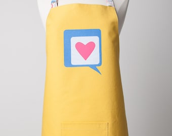 Adult Reversible Appliqué Word Bubble Heart  Apron