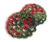 Christmas Coasters in Tatting - Set of two - Rosetta - Size 1