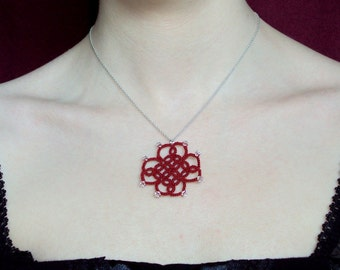 CLEARANCE Red Pendant In Tatting - Mystica