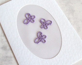 CLEARANCE Purple Butterfly Greetings Card in Tatting - Blank Inside