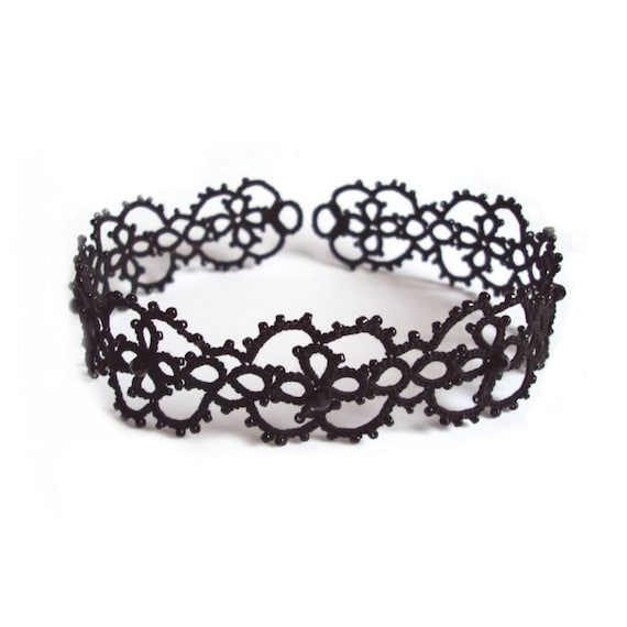Black Lace Choker - Goth Tatting - Beaded Lace - Victorian Gothic Choker Necklace - Cassandra