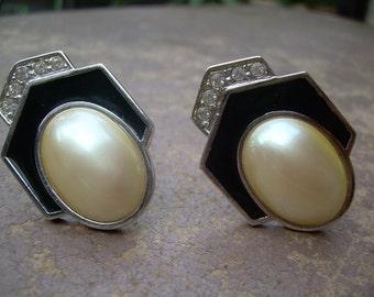 Stunning pair of Genuine Vintage YSL Rhinestone and black enamel and Faux Pearl earrings Yves Saint Laurent Hallmarked