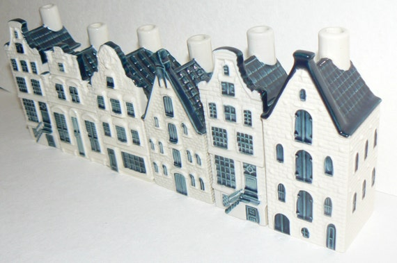 6 Delft Blue KLM Airlines BOLS miniature Porcelain Amsterdam Canal Houses Decanters