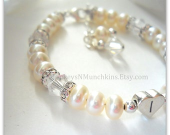 Sterling Heart Initial Bracelet with Freshwater Pearls and Crystals B017