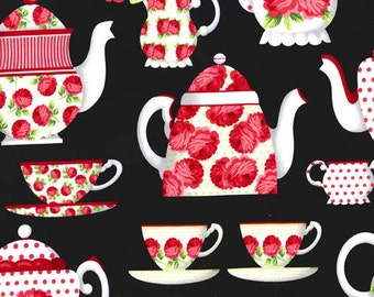 Michael Miller Tea Room Fabric Party Tea Cups Pots with Polka Dots and Roses on Black