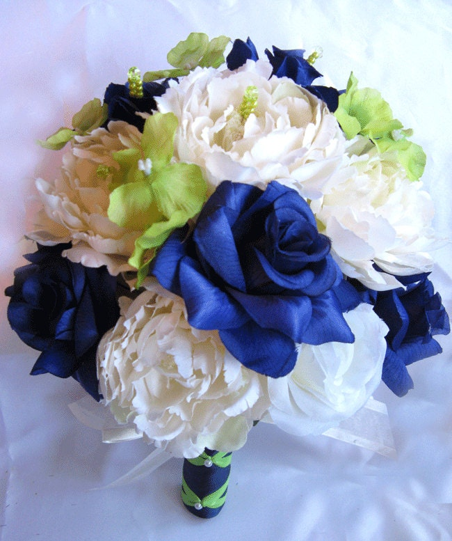Wedding Bouquet Bridal Silk Flowers Dark BLUE Apple GREEN