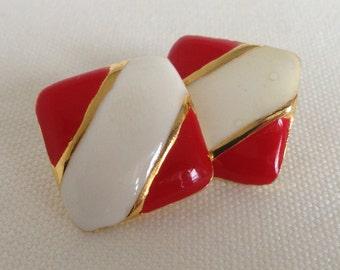 1980's vintage brass and enamel earrings