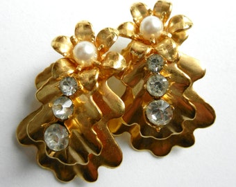 Fantastic Original Earrings 1970 - Large Golden Leaves with perfect Crystals and Pearls-art.417/2-
