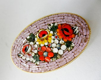 Vintage Italian 1950 - fabulous micro mosaic brooch -Italian art in Florence-Art.463/2 -