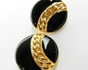 Original Earrings 1970 - Signed - Great quality and elegant style, gold and black enamel for the lady chic---Art.599/2 -