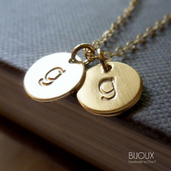 Initial Disc Necklace - Two Discs -14K Goldfilled