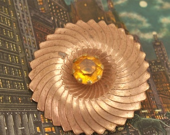 Vintage Unique Yellow Glass Pin