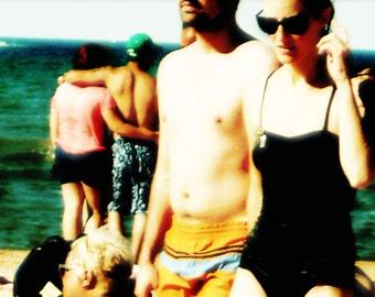 SUMMER BEACH, Chicago Photography, Montrose Beach, Chicago Photo, Chicago Art, bathing suits, swim, couple, sunglasses, yellow, black