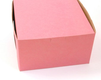 Bakery Boxes / Pastry Boxes - Pink - 7x7x4 inches (5)