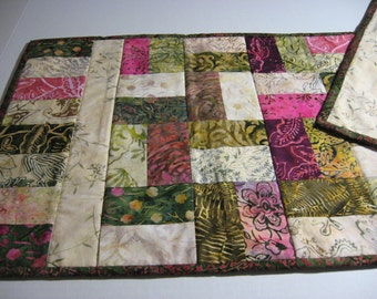 Reversible Quilted Table Runner.  Batik Botanicals in Green, Cream, Mauve. Ready to Ship