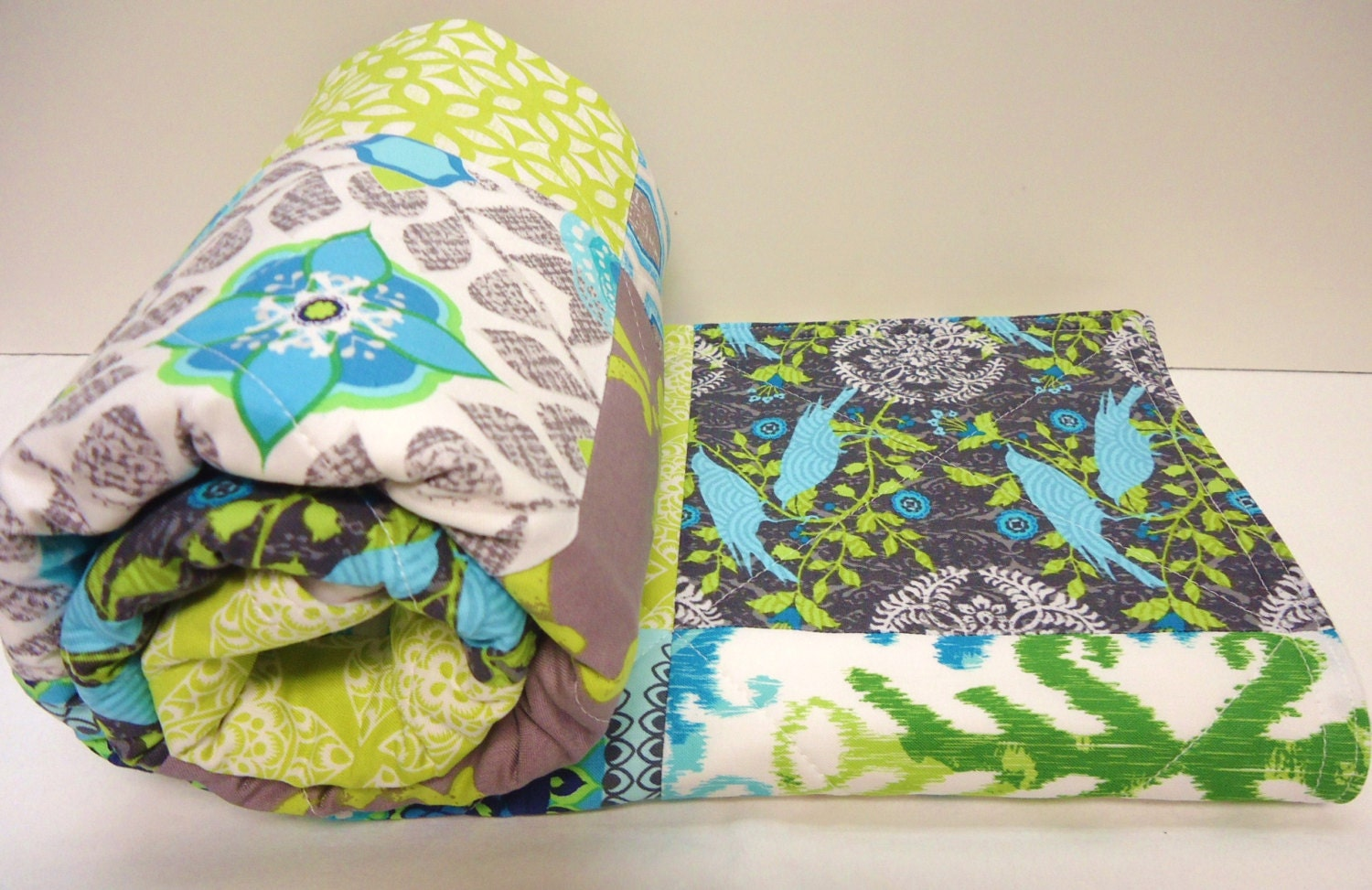 Modern baby quilt gray grey aqua lime green by nowandthenquilts
