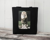The African Lion - Black or Natural Canvas Bag - Carryall Tote