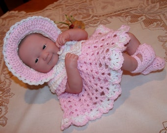 PDF PATTERN Crochet 14 inch Berenguer Baby Doll La Newborn Yarn Bonnet Dress Set