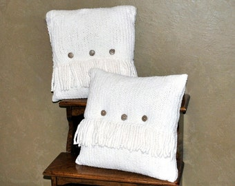 Knitted Pillow Set- 2 piece Recycled - Ready to Ship