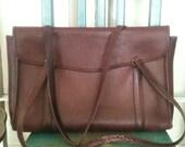 beautiful vintage COACH briefcase tote rich burgundy/aubergine