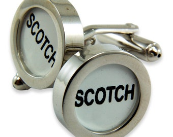 Scotch Cufflinks Cash Register Key Cufflinks -White SCOTCH  Key - by Gwen DELICIOUS Jewelry Design