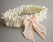 Silk & Lace Bridal Garter SET -- Ivory and Peach - Audrey (Custom Colors Available) - Vintage Inspired Wedding Garter with Toss Garter