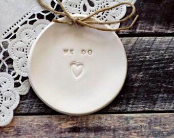 Wedding ring bearer We Do Ring dish Wedding Ring pillow ,Aternative ring bearer pillow His and Hers ring dish