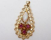 Faux Opal and Ruby Gold Filled Pendant