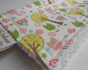 Baby Girl CHENILLE BURP CLOTH  - -  Whimsy Owls Trees