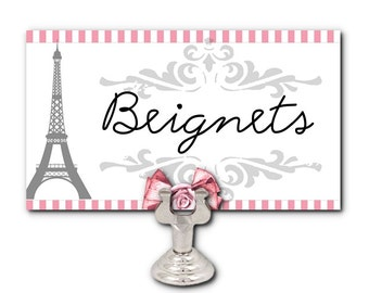10 Blank Table Cards, Place Cards, Food Label Cards, Candy Buffet Labels, French, Eiffel Tower, Wedding, Showers, Birthday