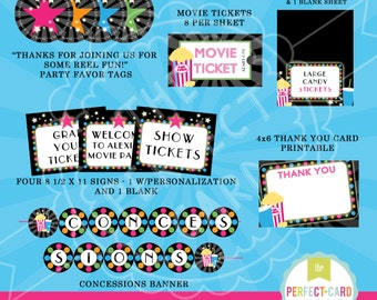 MOVIE NIGHT PARTY - Girl or Boy Colors -  Deluxe Printable Party Package