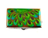 Metal Pill Box Hand Painted Rectangle Metal Box Peacock Inspired  Glossy Enamel Finish Customizable
