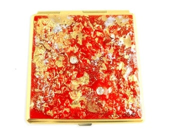 Square Compact Mirror Hand Painted Enamel Red Gold Nugget with Swarovski and Glass Beads Metal Mirror Custom Colors and Personalized Options